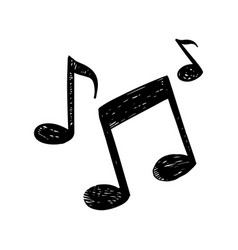 hand drawn icon music note doodle isolated vector image