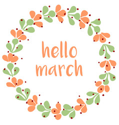 hello march watercolor wreath card isolated on whi vector image