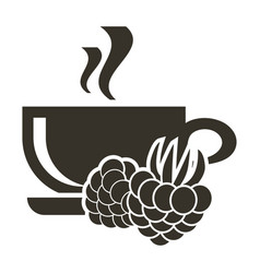 icon cup of hot tea with raspberry flavor logo in vector image
