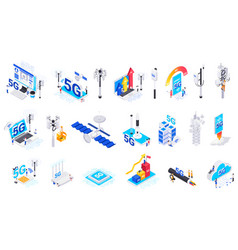internet 5g technology isolated icons vector image