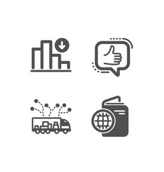 Like truck delivery and decreasing graph icons vector