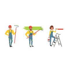 male and female house painter in overall standing vector image