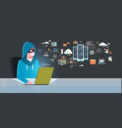 man black mask sitting at computer hacker activity vector image