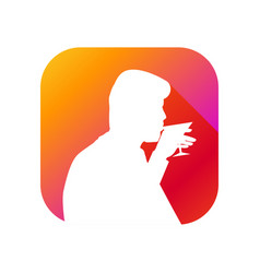 man drinks from a glass flat icon with long vector image