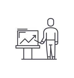 marketing presentation line icon concept vector image