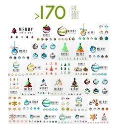 Mega set of Christmas Logos Abstract tree snow vector image