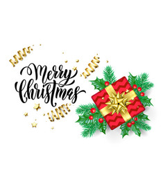 merry christmas calligraphy hand drawn text vector image