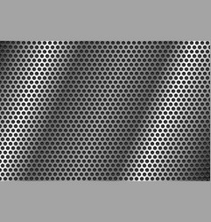 Metal perforated background round shaped holes vector