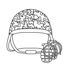 Military helmet grenade black and white vector