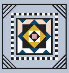Modern geometric tile square emblem frame on gray vector