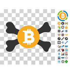 Mortal bitcoin icon with bonus vector