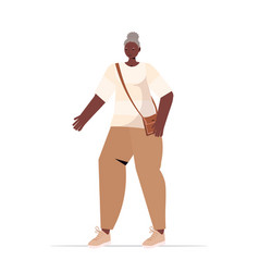 Old african american woman in casual trendy vector