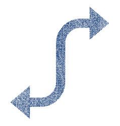 Opposite bend arrow fabric textured icon vector
