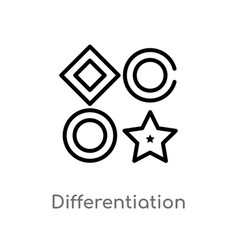Outline differentiation icon isolated black vector