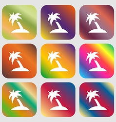 Palm Tree Travel trip icon Nine buttons with vector