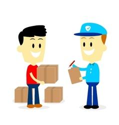 Postman Delivering Parcels to a Man vector image