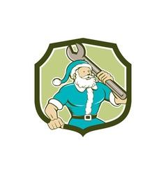 Santa Claus Mechanic Spanner Shield Cartoon vector image