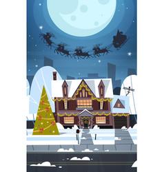 santa flying in sledge with reindeers in sky over vector image