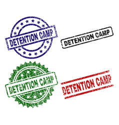 Scratched textured detention camp stamp seals vector