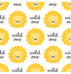 seamless pattern with faces lions vector image