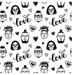 seamless pattern with funny characters vector image