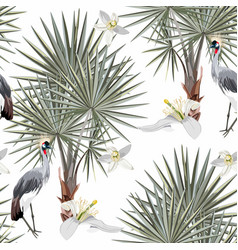 Seamless silver pattern tropical leaves fan palm vector