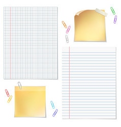 Sells and strips notebook paper with paper clips vector