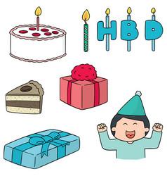 set of happy birthday vector image