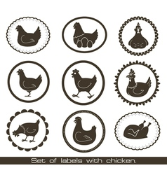 Set of labels with chicken vector