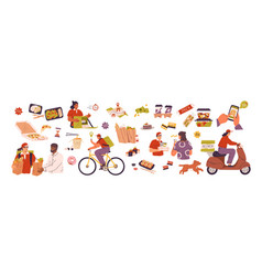 set scenes with delivery service takeaway vector image