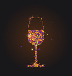 silhouette wineglass with wine on black vector image
