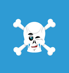 Skull and crossbones winks emoji skeleton head vector
