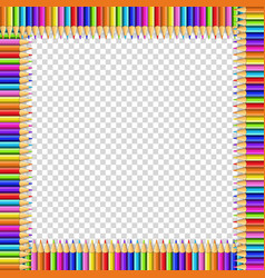 Square frame made of multicolored pencils on vector