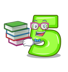 Student with book cartoon number five engraved on vector