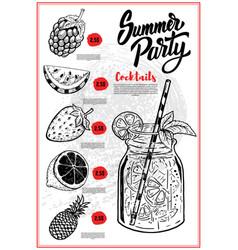 summer cocktails menu cover layout menu vector image