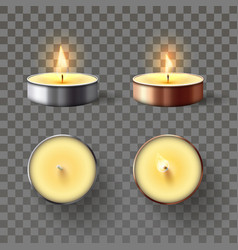 tea candle romantic candles in metal flame vector image