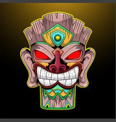Tiki mask esport mascot logo vector