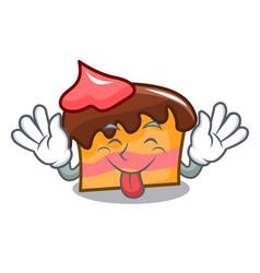 Tongue out sponge cake mascot cartoon vector