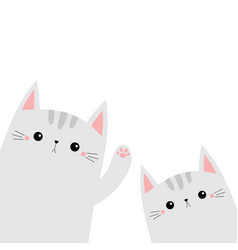 two cat animal set kitten kitty waving hand cute vector image