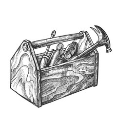 Vintage wooden toolbox with old instrument vector