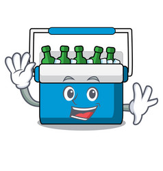 waving freezer bag character cartoon vector image