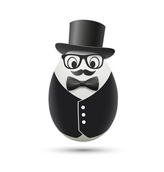 White egg in a tuxedo and hat vector