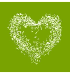 White floral frame heart shape on green vector image