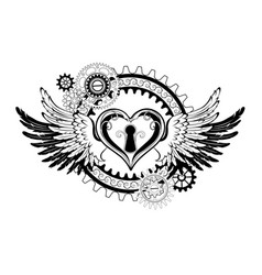 Winged mechanical heart vector