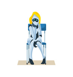 Worried female robot on chair wait job interview vector