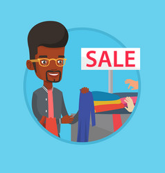 young man choosing clothes in shop on sale vector image