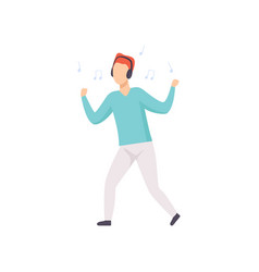 young man listening music with headphones and vector image