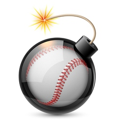 Abstract baseball shaped like a bomb vector image vector image