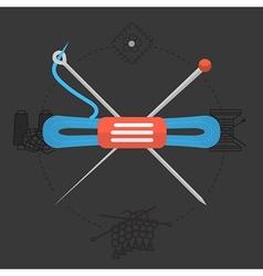 Flat design for handmade Knitting vector image