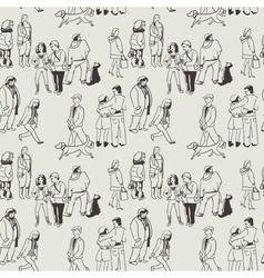 pattern with group of people vector image vector image